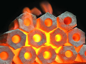 biomass briquette burning