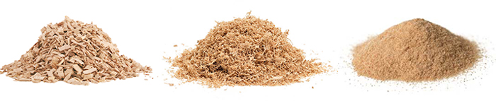 different fineness of biomass materials
